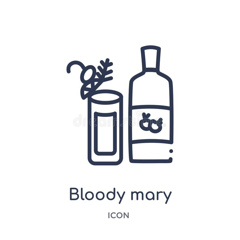 Linear bloody mary icon from Drinks outline collection. Thin line bloody mary vector isolated on white background. bloody mary stock illustration