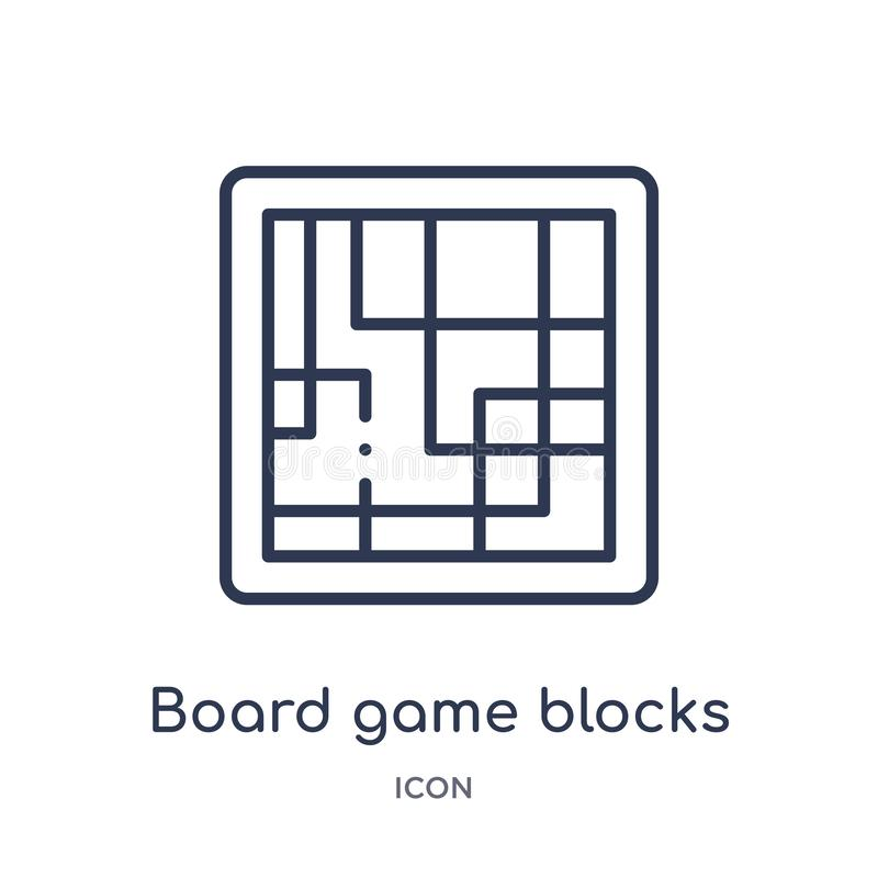 Linear board game blocks icon from Entertainment outline collection. Thin line board game blocks icon isolated on white background stock illustration
