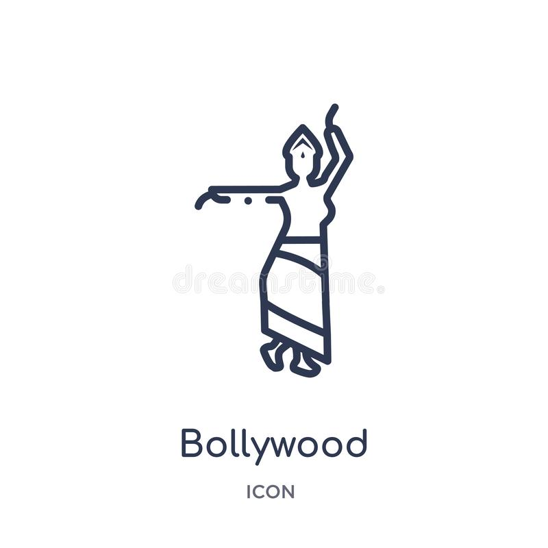 Linear bollywood icon from India outline collection. Thin line bollywood icon isolated on white background. bollywood trendy stock illustration