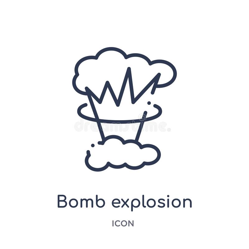 Linear bomb explosion icon from Meteorology outline collection. Thin line bomb explosion icon isolated on white background. bomb stock illustration