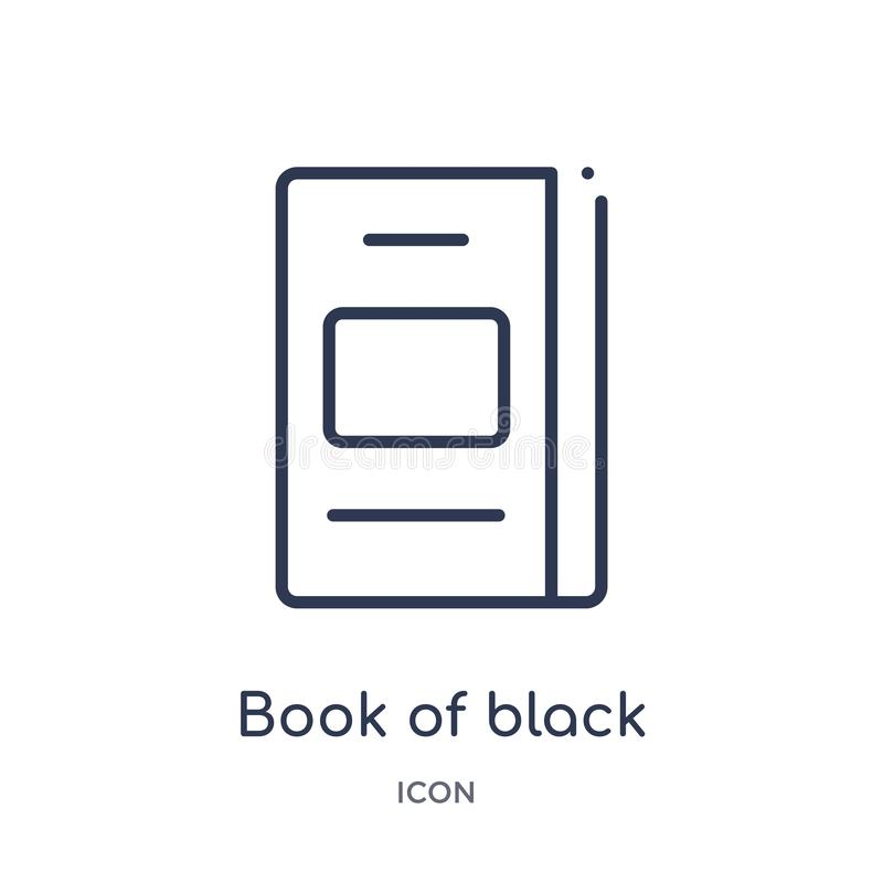 Linear book of black cover icon from Education outline collection. Thin line book of black cover icon isolated on white background. Book of black cover trendy vector illustration