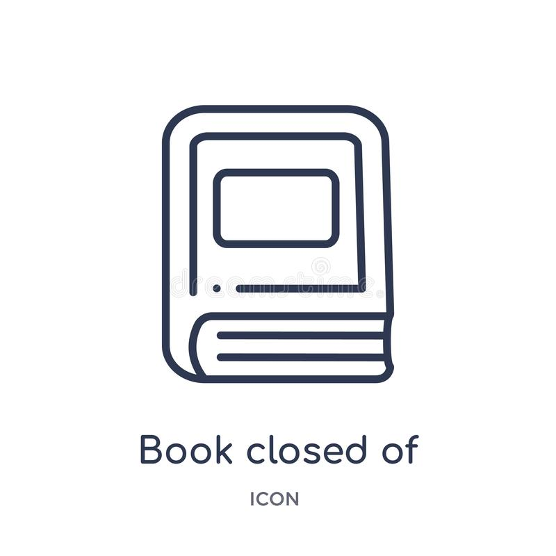 Linear book closed of white cover icon from Education outline collection. Thin line book closed of white cover icon isolated on. White background. book closed vector illustration
