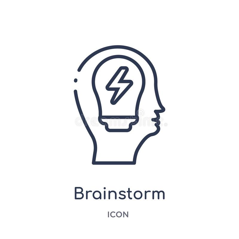Linear brainstorm icon from Brain process outline collection. Thin line brainstorm vector isolated on white background. brainstorm vector illustration