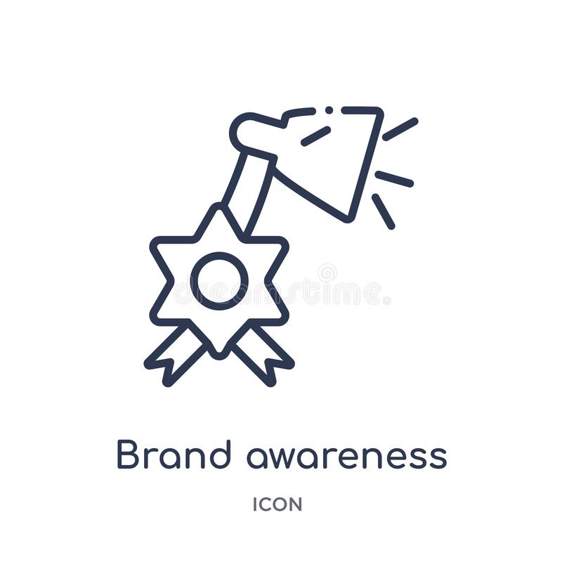 Linear brand awareness icon from General outline collection. Thin line brand awareness icon isolated on white background. brand stock illustration