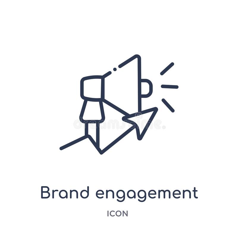 Linear brand engagement icon from General outline collection. Thin line brand engagement icon isolated on white background. brand royalty free illustration
