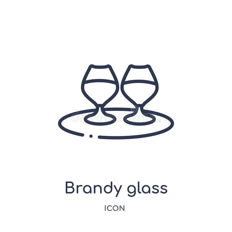 Linear brandy glass icon from Drinks outline collection. Thin line brandy glass vector isolated on white background. brandy glass stock illustration
