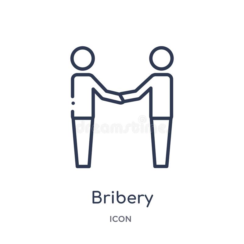 Linear bribery icon from Law and justice outline collection. Thin line bribery icon isolated on white background. bribery trendy. Illustration stock illustration