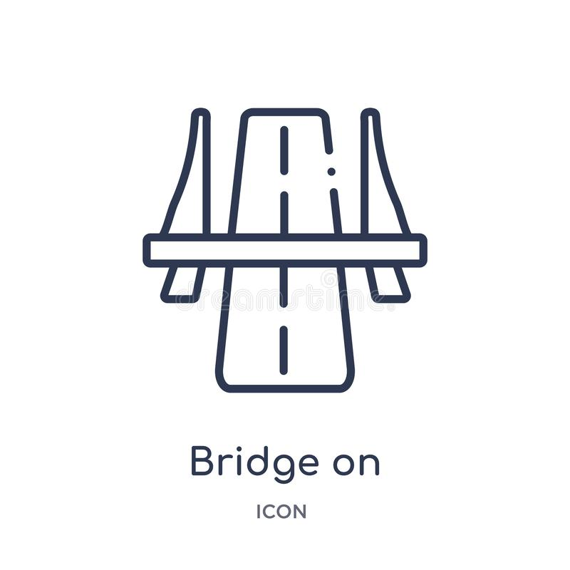 Linear bridge on avenue perspective icon from General outline collection. Thin line bridge on avenue perspective icon isolated on. White background. bridge on stock illustration