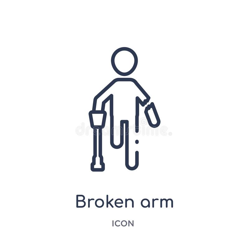 Linear broken arm icon from Humans outline collection. Thin line broken arm icon isolated on white background. broken arm trendy royalty free illustration
