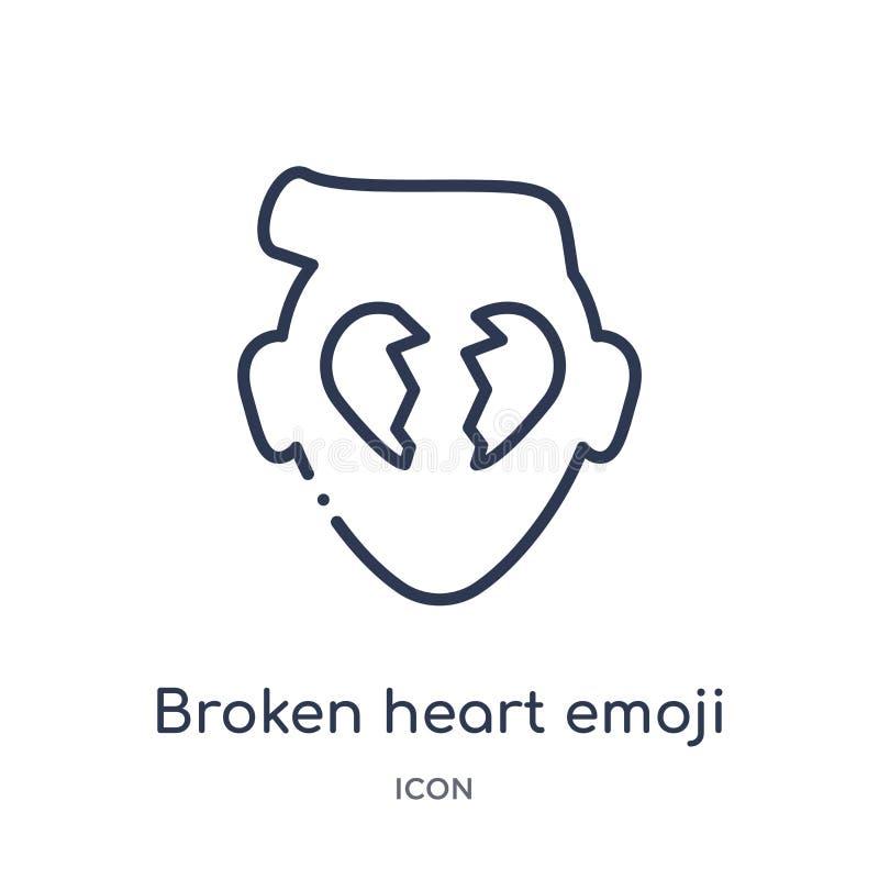 Linear broken heart emoji icon from Emoji outline collection. Thin line broken heart emoji vector isolated on white background. Broken heart emoji trendy vector illustration
