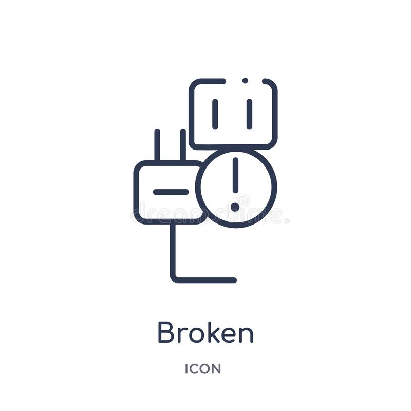 Linear broken icon from Electrian connections outline collection. Thin line broken vector isolated on white background. broken vector illustration