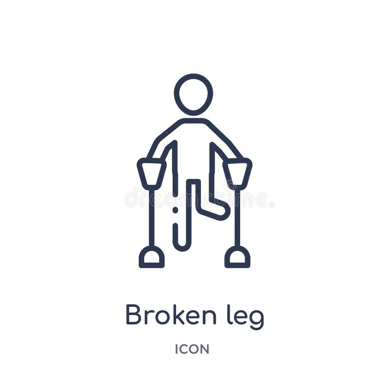 Linear broken leg icon from Humans outline collection. Thin line broken leg icon isolated on white background. broken leg trendy. Illustration vector illustration
