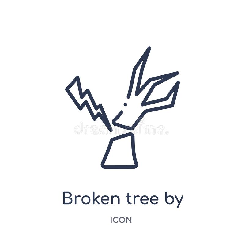 Linear broken tree by thunder icon from Meteorology outline collection. Thin line broken tree by thunder icon isolated on white royalty free illustration