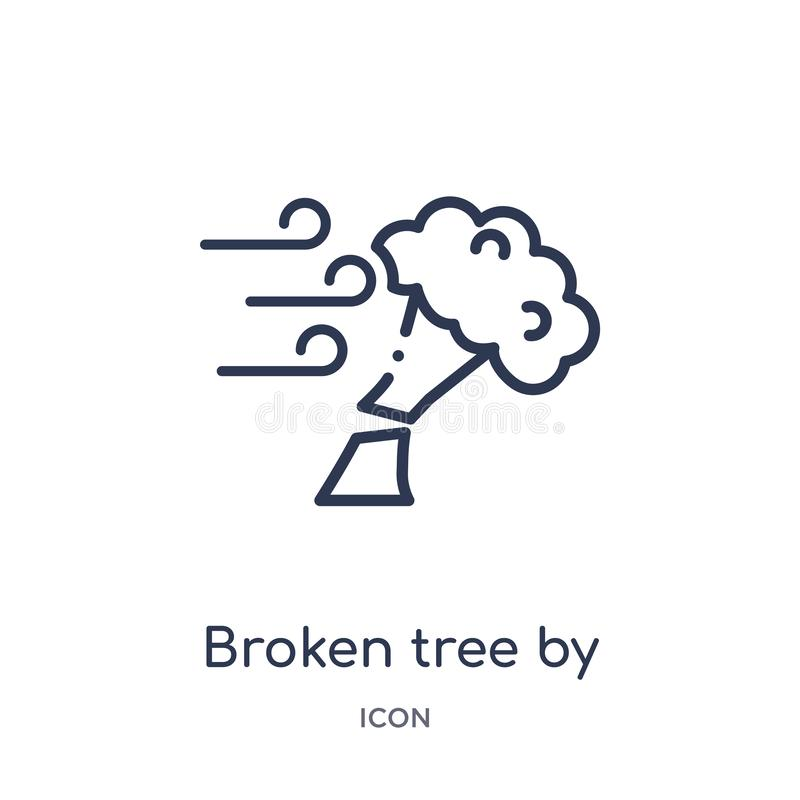 Linear broken tree by wind icon from Meteorology outline collection. Thin line broken tree by wind icon isolated on white stock illustration
