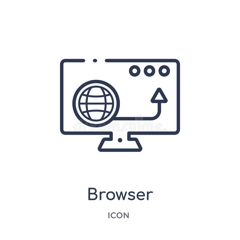 Linear browser icon from Blogger and influencer outline collection. Thin line browser vector isolated on white background. browser vector illustration