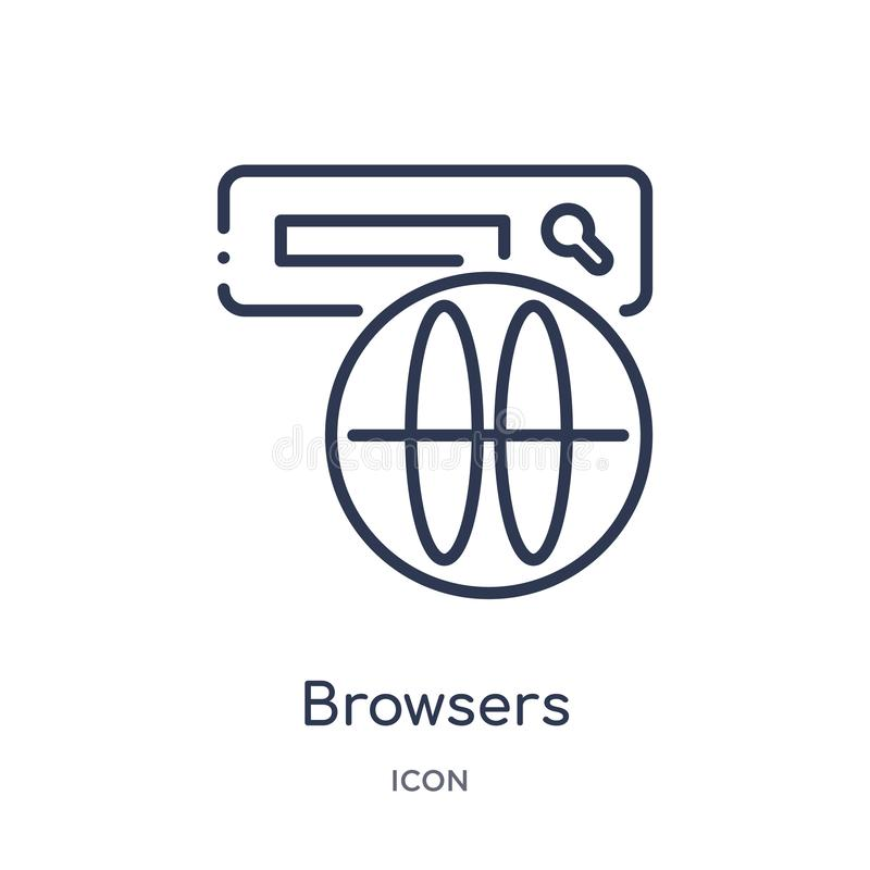 Linear browsers icon from Internet security outline collection. Thin line browsers icon isolated on white background. browsers. Trendy illustration stock illustration