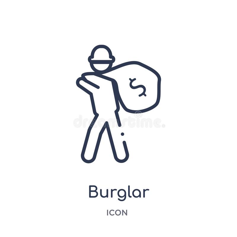 Linear burglar icon from Job profits outline collection. Thin line burglar icon isolated on white background. burglar trendy stock illustration