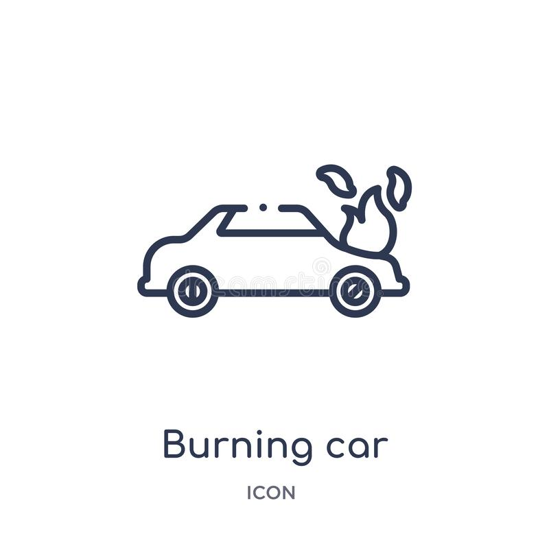 Linear burning car icon from Insurance outline collection. Thin line burning car icon isolated on white background. burning car royalty free illustration