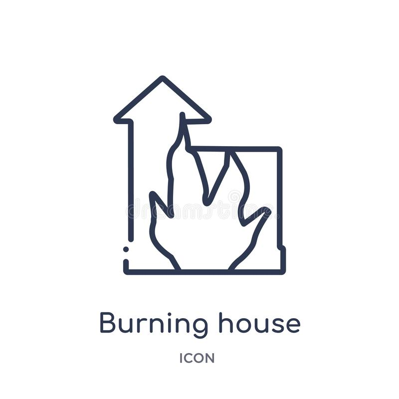 Linear burning house icon from Buildings outline collection. Thin line burning house icon isolated on white background. burning stock illustration