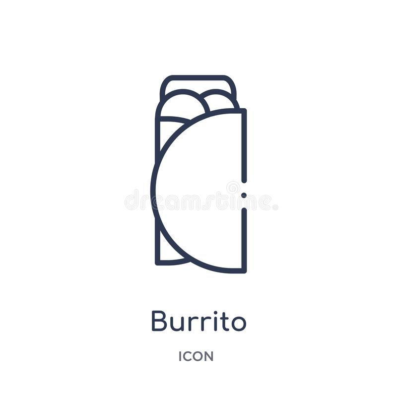 Linear burrito icon from Fastfood outline collection. Thin line burrito vector isolated on white background. burrito trendy royalty free illustration