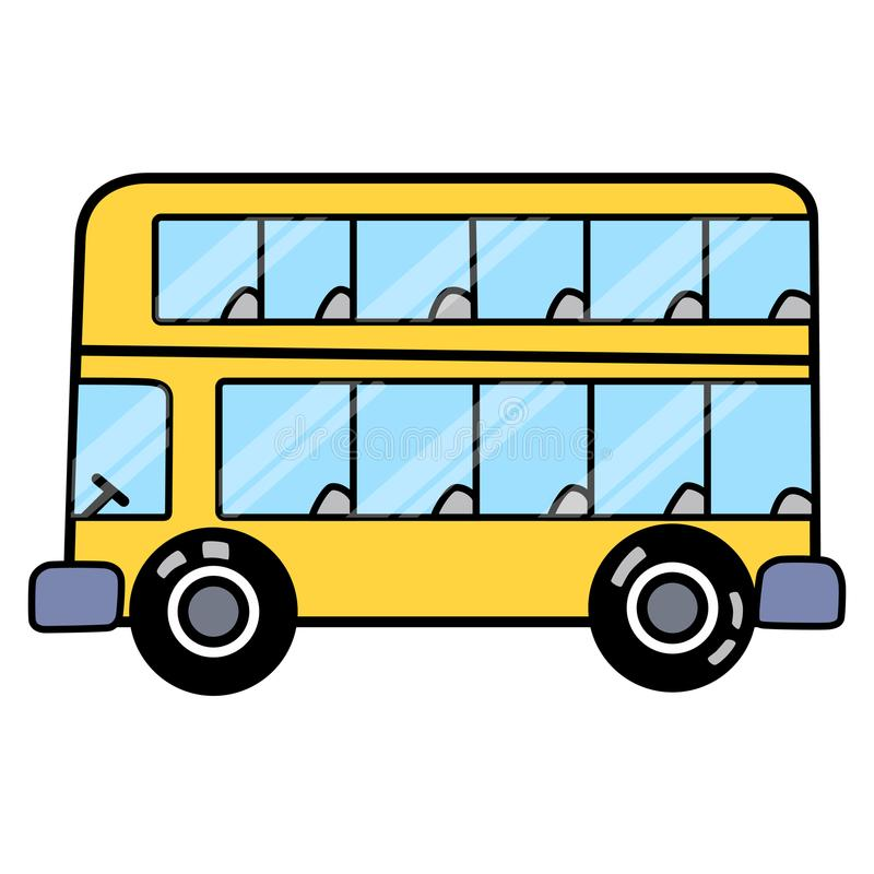 Linear bus with two floors separated on white space. This is linear bus with two floors separated on white space ready to work. Simple and easy for display on royalty free illustration