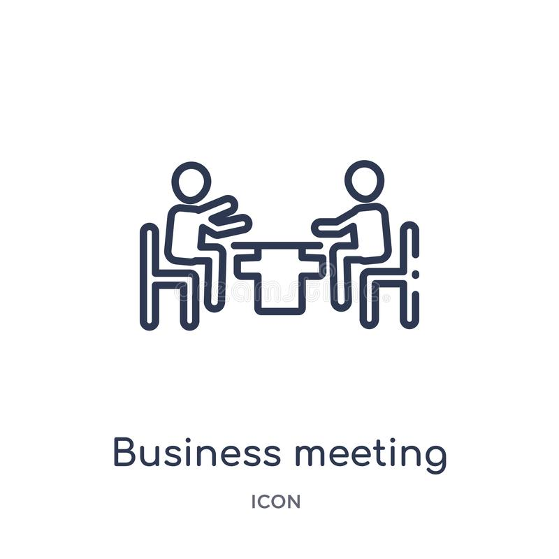 Linear business meeting icon from Humans outline collection. Thin line business meeting icon isolated on white background. vector illustration