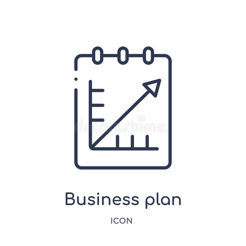 Linear business plan icon from Business and analytics outline collection. Thin line business plan vector isolated on white royalty free illustration