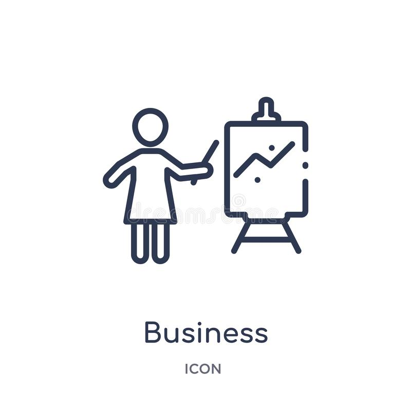 Linear business presentation icon from Humans outline collection. Thin line business presentation icon isolated on white royalty free illustration