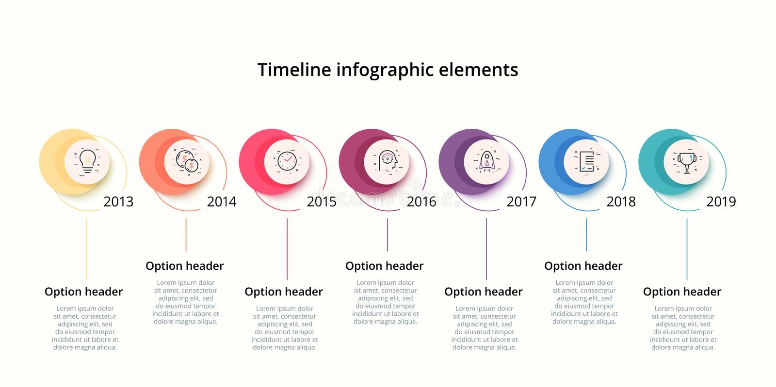 Linear business star timeline workflow infographics. Corporate milestones graphic elements. Company presentation slide template. Linear circular timeline royalty free illustration