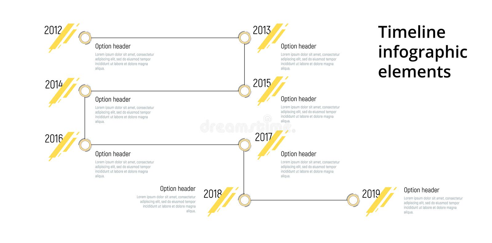 Linear business step timeline workflow infographics. Corporate milestones graphic elements. Company presentation slide template. With year periods. Modern royalty free illustration