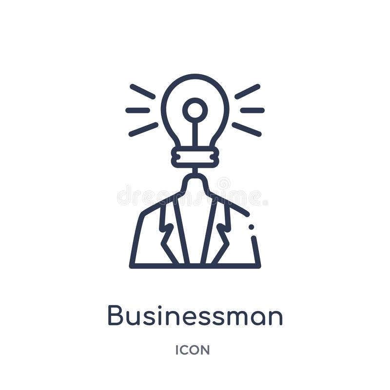 Linear businessman with an idea icon from Business outline collection. Thin line businessman with an idea icon isolated on white royalty free illustration