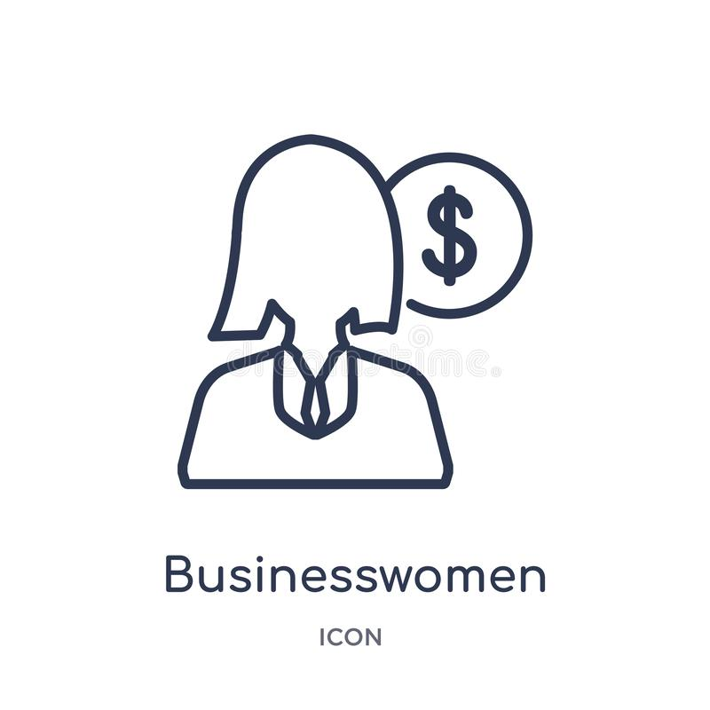 Linear businesswomen icon from Business outline collection. Thin line businesswomen icon isolated on white background. stock illustration