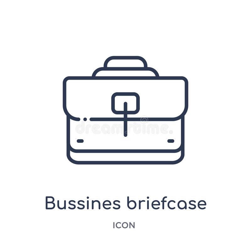Linear bussines briefcase icon from Business outline collection. Thin line bussines briefcase icon isolated on white background. royalty free illustration