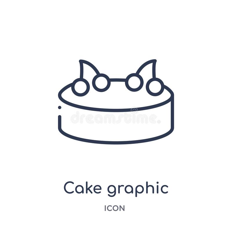 Linear cake graphic icon from Food outline collection. Thin line cake graphic icon isolated on white background. cake graphic royalty free illustration