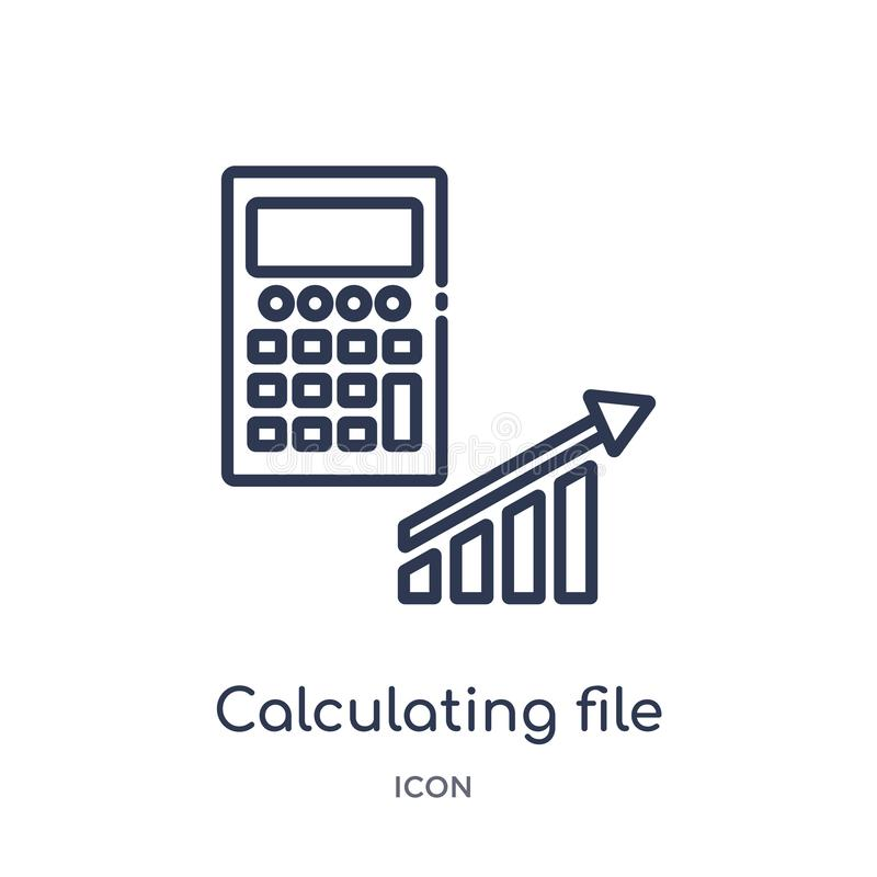 Linear calculating file icon from Marketing outline collection. Thin line calculating file icon isolated on white background. vector illustration