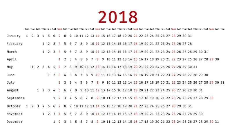 2018 Linear Calendar In Simple Style Vector Illustration Stock