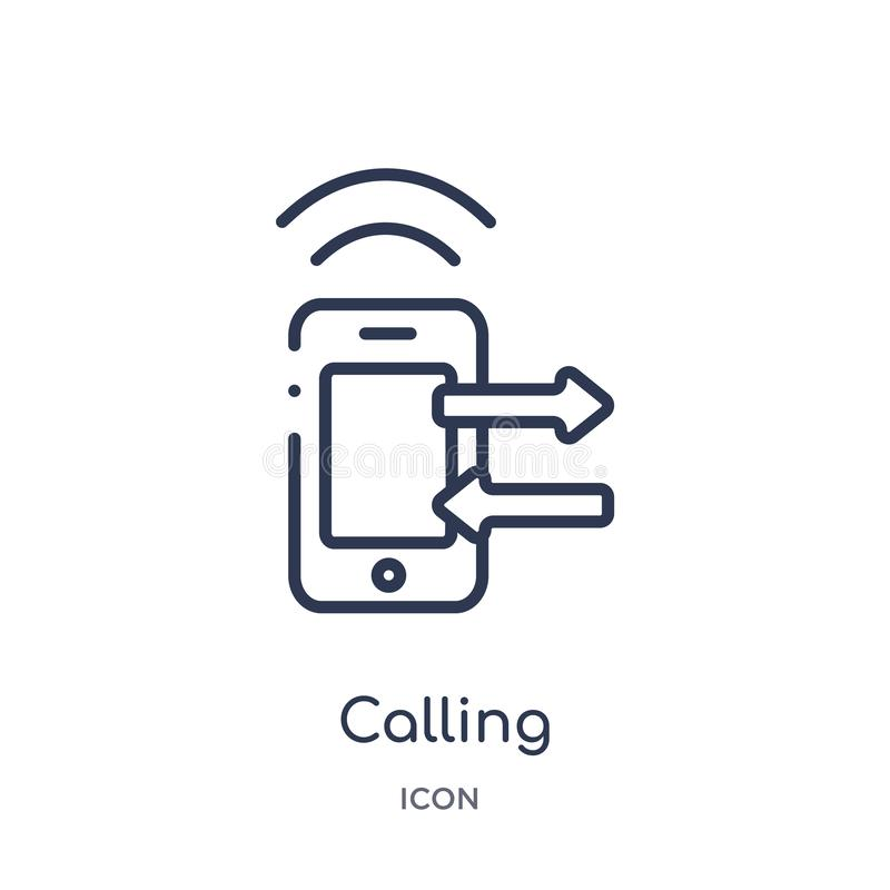 Linear calling icon from Customer service outline collection. Thin line calling vector isolated on white background. calling stock illustration