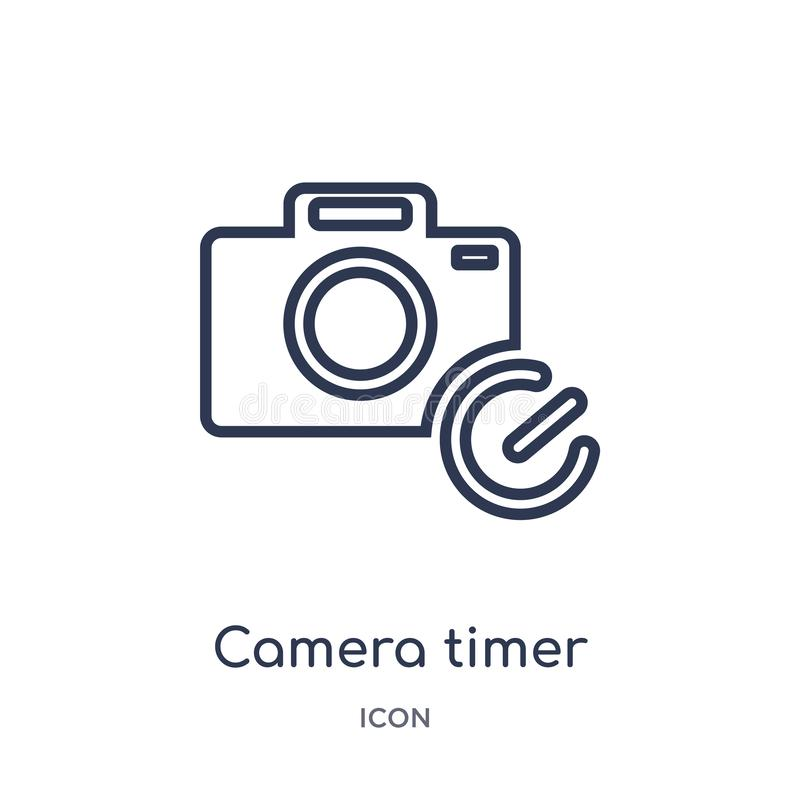 Linear camera timer icon from Electronic stuff fill outline collection. Thin line camera timer vector isolated on white background vector illustration