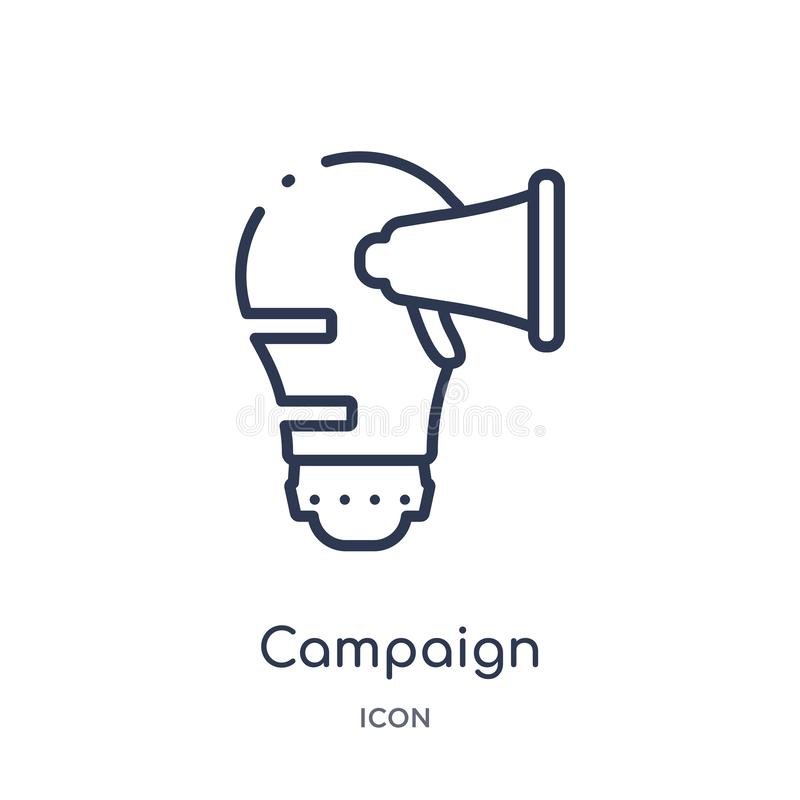 Linear campaign icon from Marketing outline collection. Thin line campaign icon isolated on white background. campaign trendy stock illustration