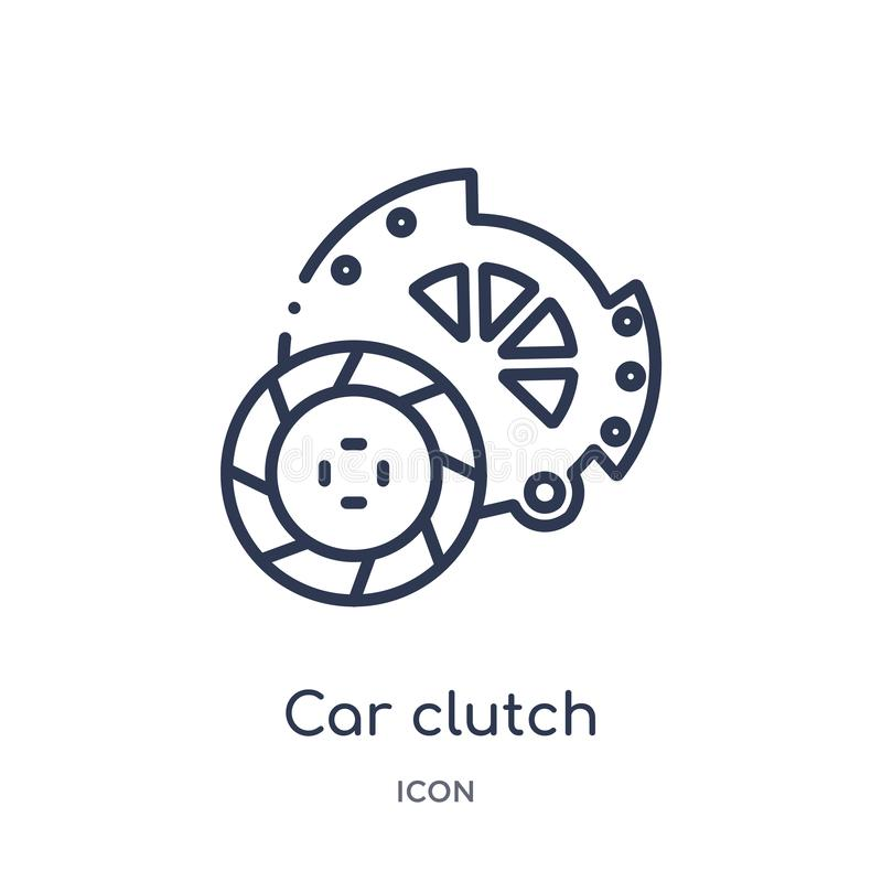 Linear car clutch icon from Car parts outline collection. Thin line car clutch vector isolated on white background. car clutch stock illustration