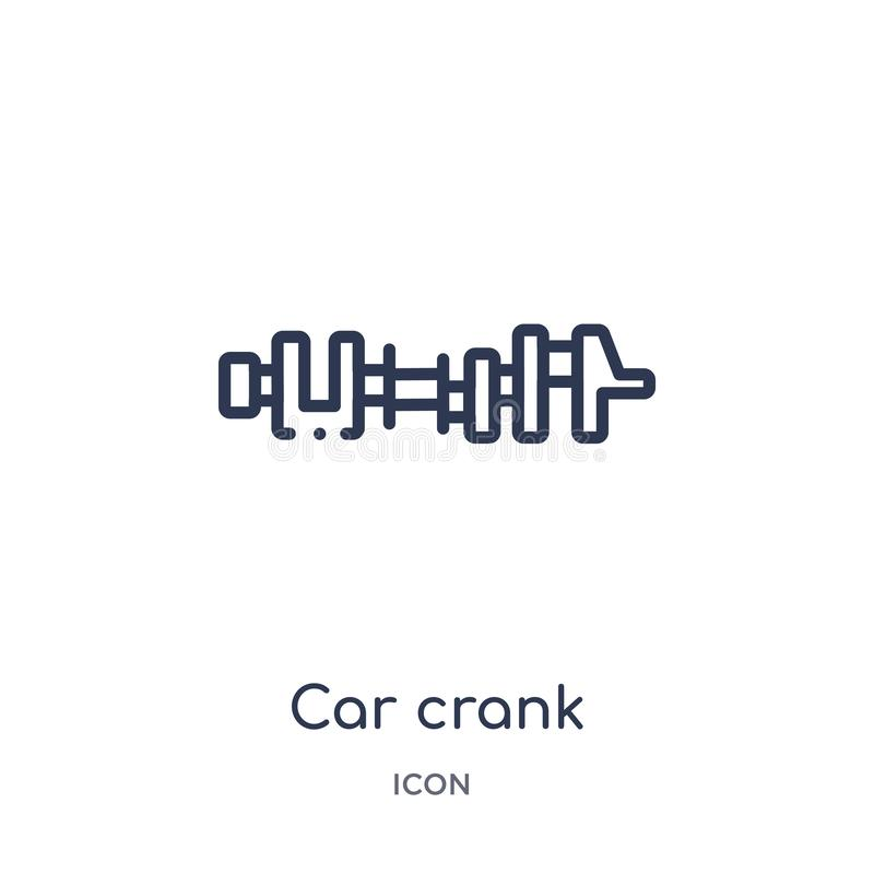 Linear car crank icon from Car parts outline collection. Thin line car crank vector isolated on white background. car crank trendy vector illustration