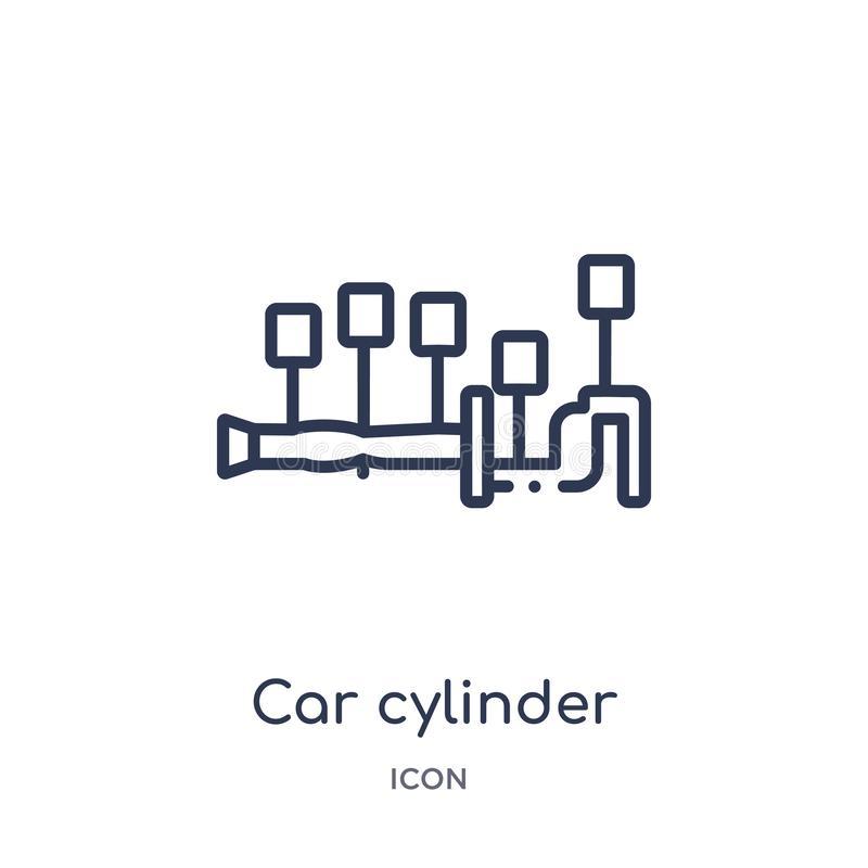 Linear car cylinder icon from Car parts outline collection. Thin line car cylinder vector isolated on white background. car royalty free illustration