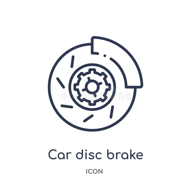 Linear car disc brake icon from Car parts outline collection. Thin line car disc brake vector isolated on white background. car stock illustration