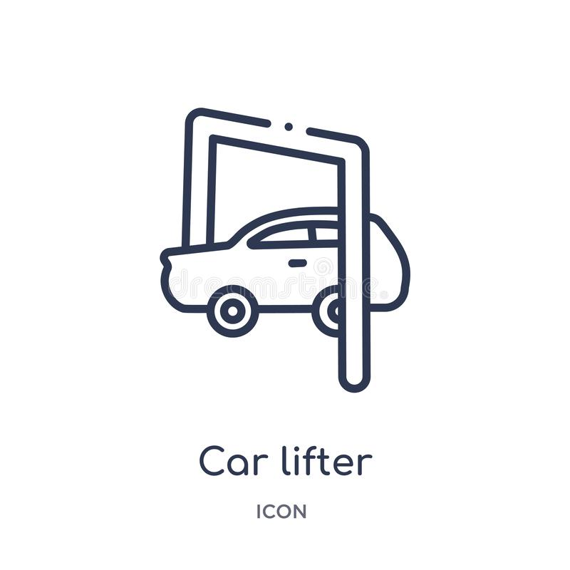 Linear car lifter icon from Mechanicons outline collection. Thin line car lifter icon isolated on white background. car lifter royalty free illustration