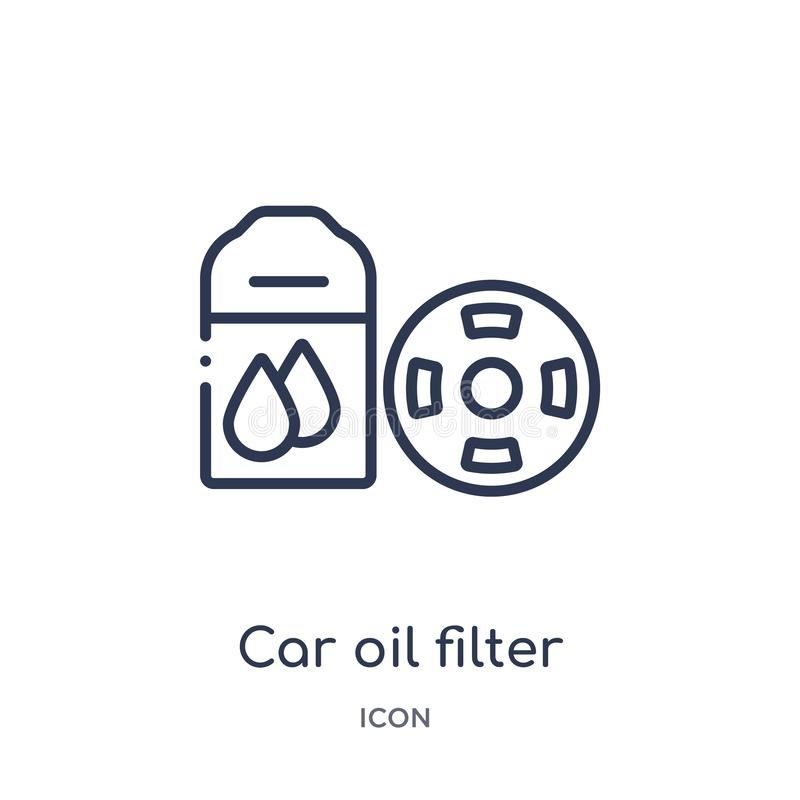Linear car oil filter icon from Car parts outline collection. Thin line car oil filter vector isolated on white background. car royalty free illustration