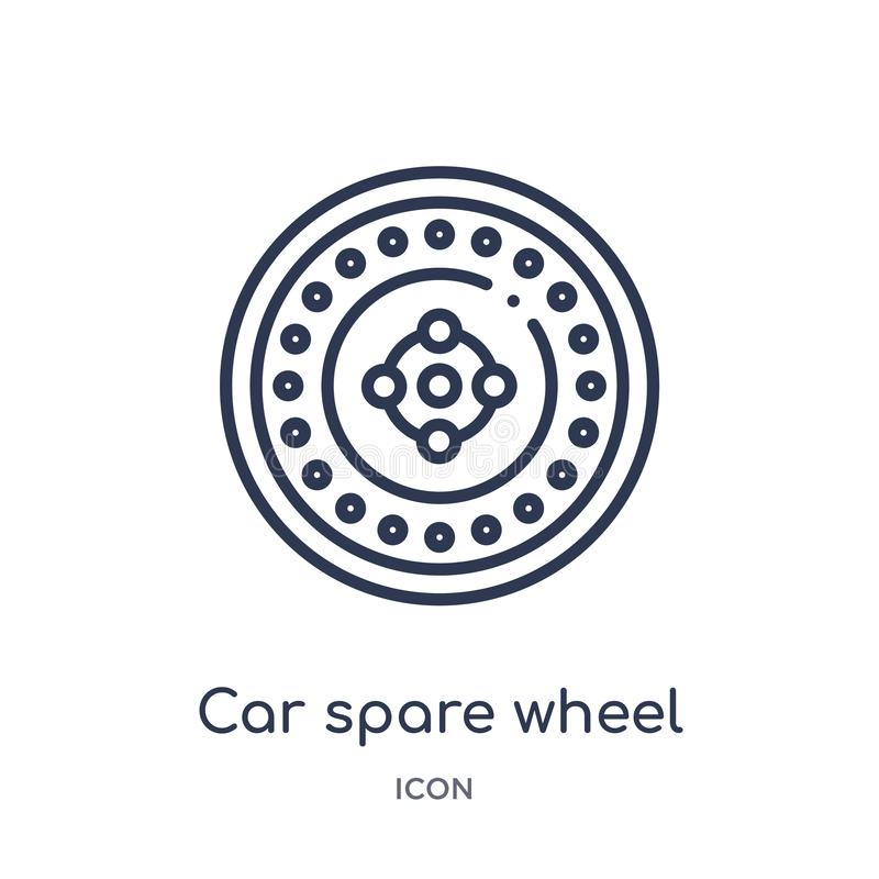 Linear car spare wheel icon from Car parts outline collection. Thin line car spare wheel vector isolated on white background. car stock illustration