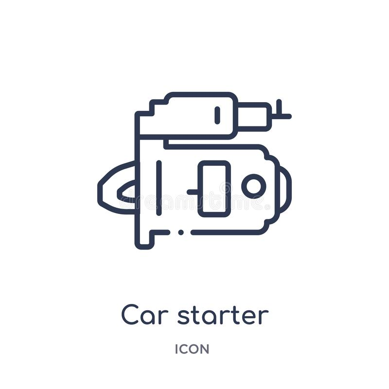Linear car starter icon from Car parts outline collection. Thin line car starter vector isolated on white background. car starter royalty free illustration