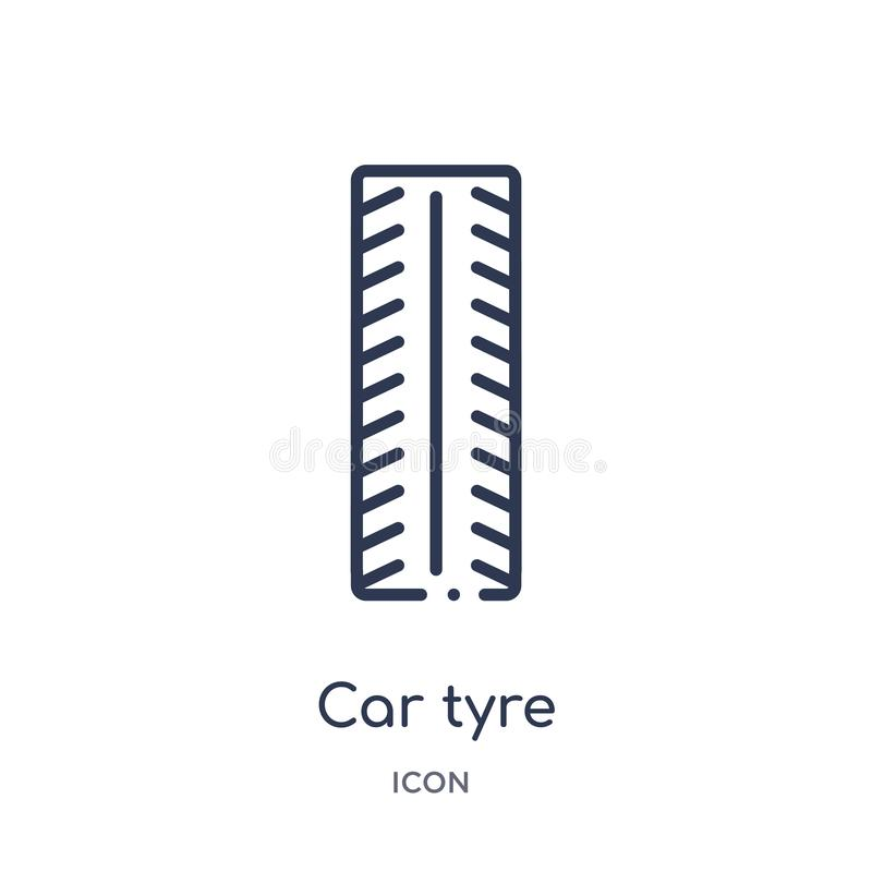 Linear car tyre icon from Car parts outline collection. Thin line car tyre vector isolated on white background. car tyre trendy royalty free illustration