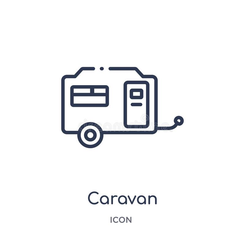 Linear caravan icon from Camping outline collection. Thin line caravan vector isolated on white background. caravan trendy vector illustration