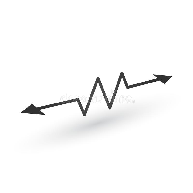 Linear Cardiogram with two opposite direction arrows. Cardiology heart beat monitor. Ecg. Pulse line. Isolated vector illustration. Linear Cardiogram with two vector illustration